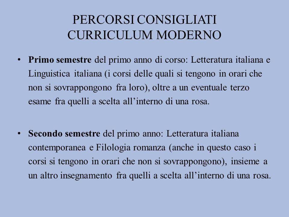 PERCORSI CONSIGLIATI CURRICULUM MODERNO Primo semestre del primo anno di corso: Letteratura italiana e Linguistica italiana (i corsi delle quali si te