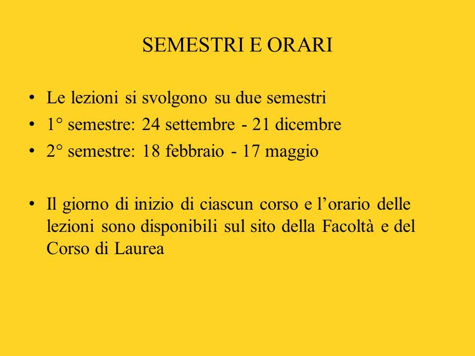 SEMESTRI E ORARI Le lezioni si svolgono su due semestri 1° semestre: 24 settembre - 21 dicembre 2° semestre: 18 febbraio - 17 maggio Il giorno di iniz