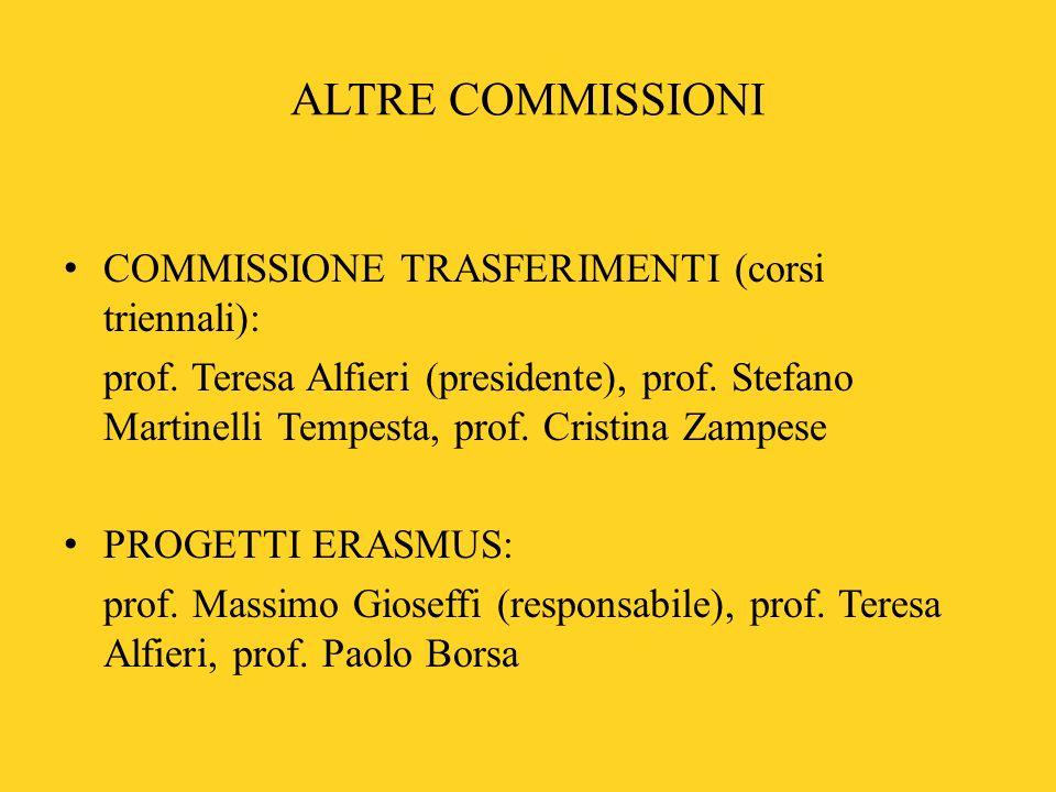ALTRE COMMISSIONI COMMISSIONE TRASFERIMENTI (corsi triennali): prof. Teresa Alfieri (presidente), prof. Stefano Martinelli Tempesta, prof. Cristina Za