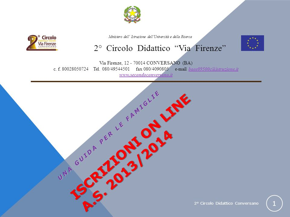 2° Circolo Didattico Conversano 1 ISCRIZIONI ON LINE A.S. 2013/2014 UNA GUIDA PER LE FAMIGLIE Ministero dell Istruzione dellUniversità e della Ricerca