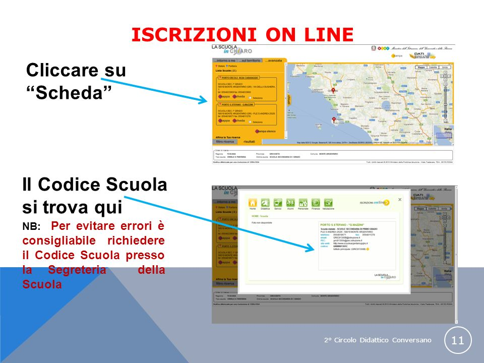 2° Circolo Didattico Conversano 11 Cliccare su Scheda Il Codice Scuola si trova qui NB: Per evitare errori è consigliabile richiedere il Codice Scuola