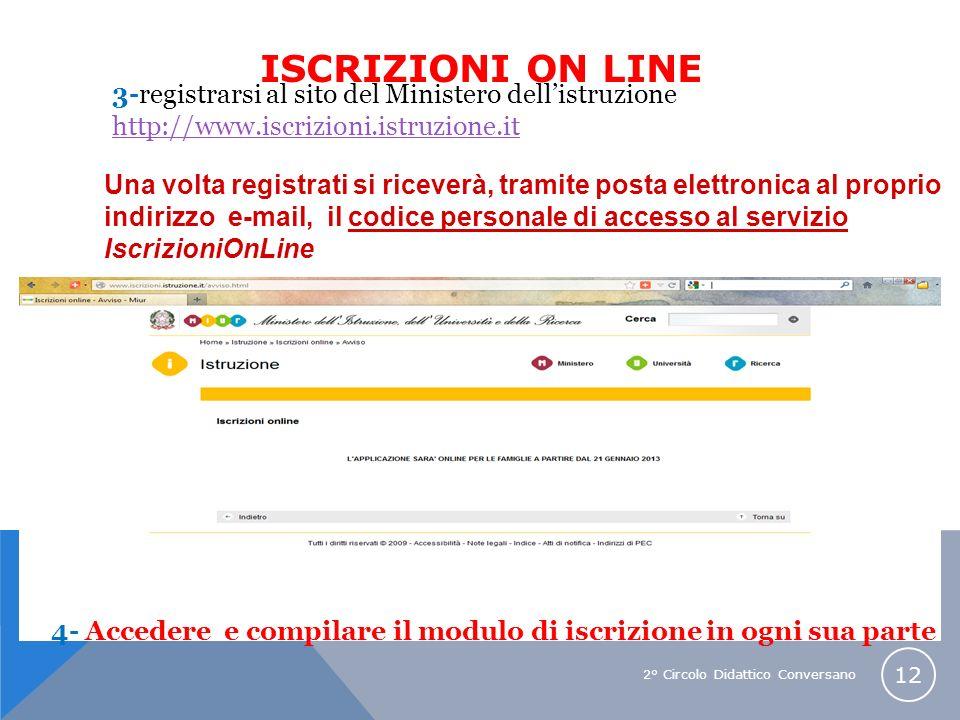 2° Circolo Didattico Conversano 12 3-registrarsi al sito del Ministero dellistruzione http://www.iscrizioni.istruzione.it 4- Accedere e compilare il m
