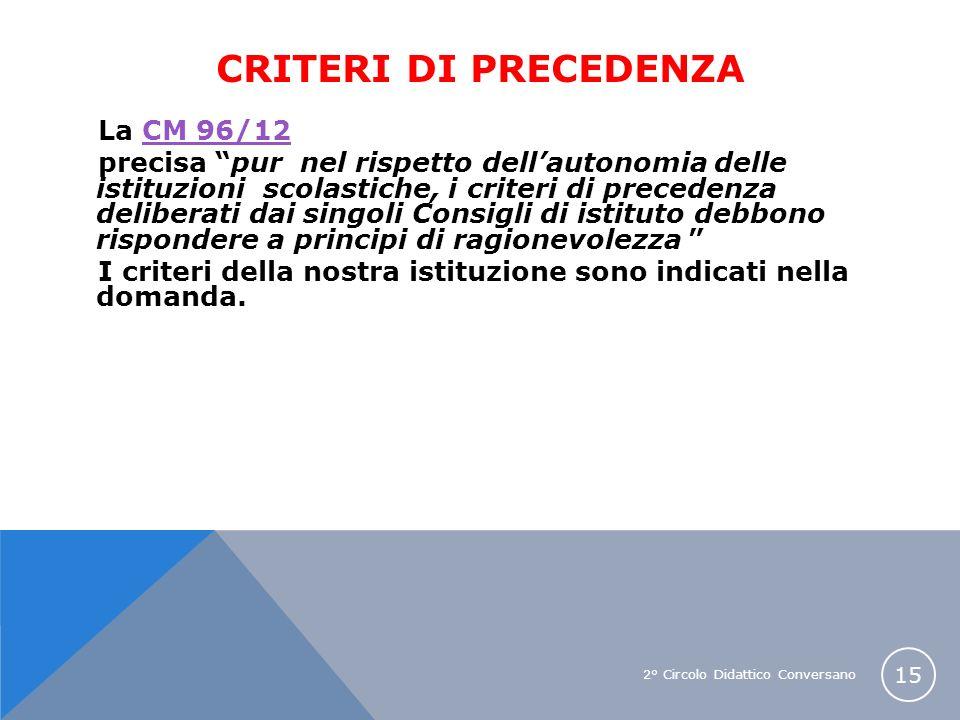 2° Circolo Didattico Conversano 15 CRITERI DI PRECEDENZA La CM 96/12CM 96/12 precisa pur nel rispetto dellautonomia delle istituzioni scolastiche, i c