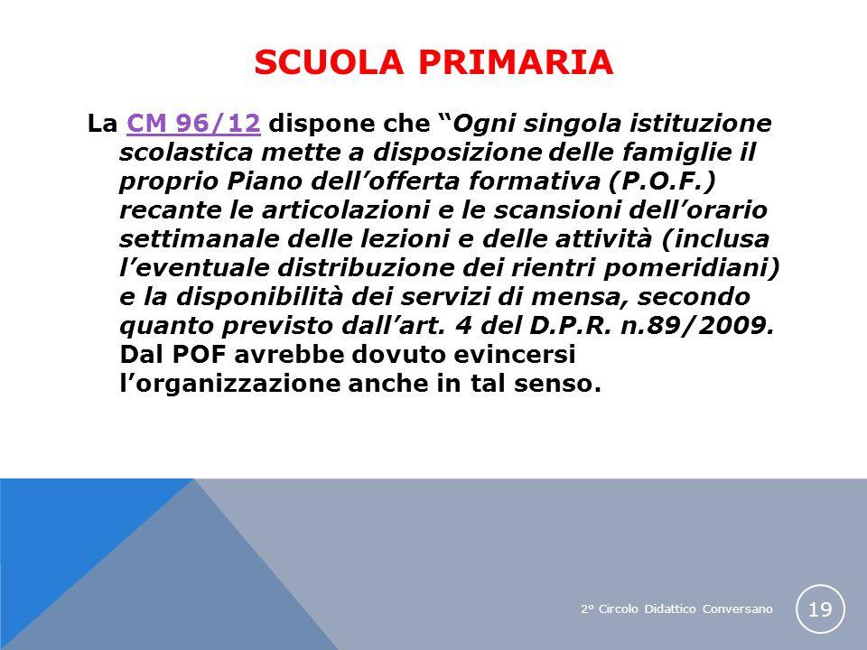 2° Circolo Didattico Conversano 19 SCUOLA PRIMARIA La CM 96/12 dispone che Ogni singola istituzione scolastica mette a disposizione delle famiglie il