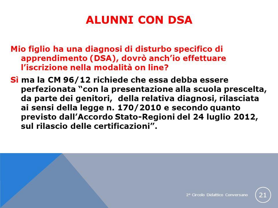 2° Circolo Didattico Conversano 21 ALUNNI CON DSA Mio figlio ha una diagnosi di disturbo specifico di apprendimento (DSA), dovrò anchio effettuare lis