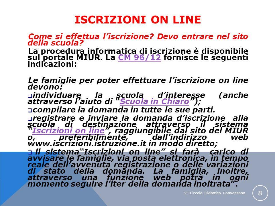 2° Circolo Didattico Conversano 8 ISCRIZIONI ON LINE Come si effettua liscrizione? Devo entrare nel sito della scuola? La procedura informatica di isc