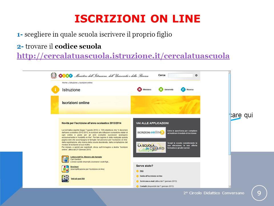 2° Circolo Didattico Conversano 9 1- scegliere in quale scuola iscrivere il proprio figlio 2- trovare il codice scuola http://cercalatuascuola.istruzi