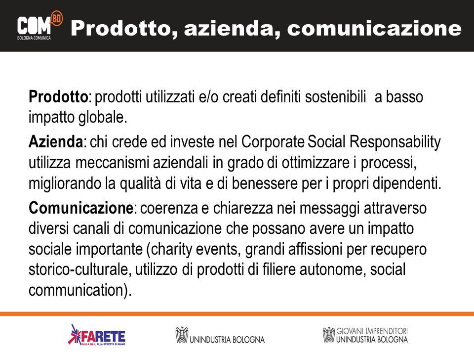 Prodotto, azienda, comunicazione Prodotto : prodotti utilizzati e/o creati definiti sostenibili a basso impatto globale. Azienda : chi crede ed invest