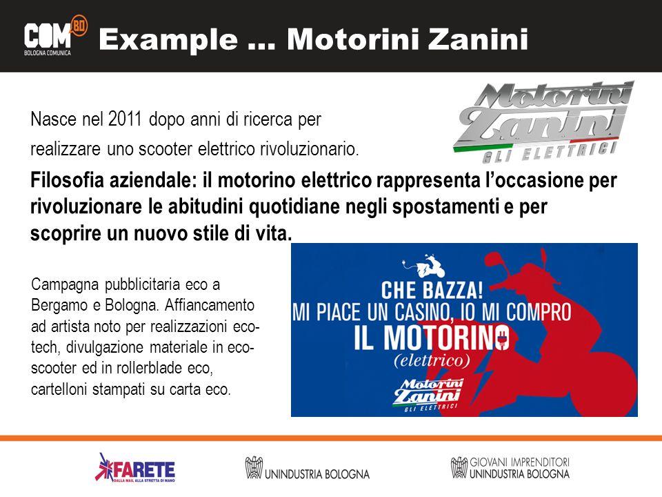 Example … Motorini Zanini Nasce nel 2011 dopo anni di ricerca per realizzare uno scooter elettrico rivoluzionario. Filosofia aziendale: il motorino el