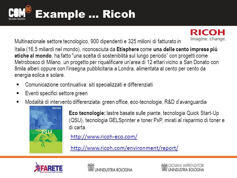 Example … Ricoh Multinazionale settore tecnologico, 900 dipendenti e 325 milioni di fatturato in Italia (16,5 miliardi nel mondo), riconosciuta da Eti