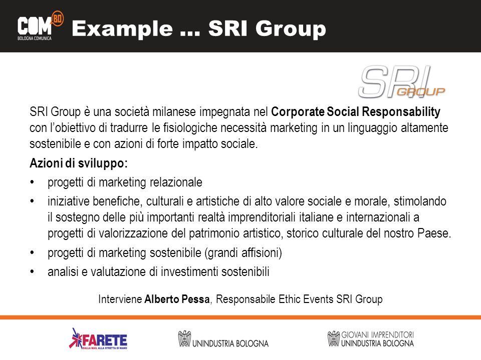Example … SRI Group SRI Group è una società milanese impegnata nel Corporate Social Responsability con lobiettivo di tradurre le fisiologiche necessità marketing in un linguaggio altamente sostenibile e con azioni di forte impatto sociale.