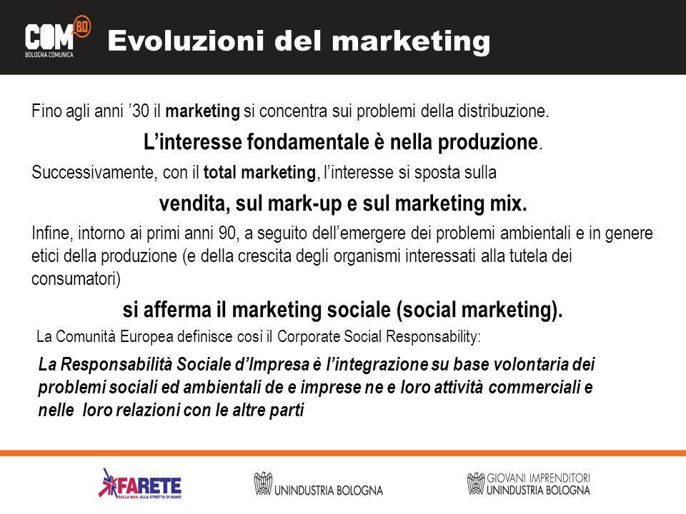 Evoluzioni del marketing Fino agli anni 30 il marketing si concentra sui problemi della distribuzione. Linteresse fondamentale è nella produzione. Suc