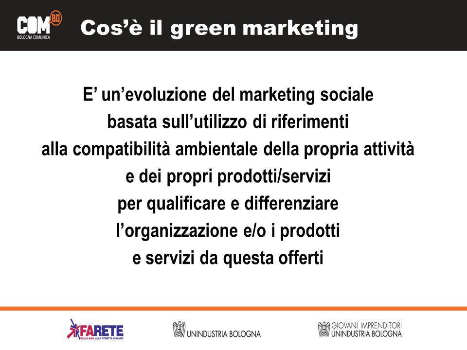Cosè il green marketing E unevoluzione del marketing sociale basata sullutilizzo di riferimenti alla compatibilità ambientale della propria attività e dei propri prodotti/servizi per qualificare e differenziare lorganizzazione e/o i prodotti e servizi da questa offerti