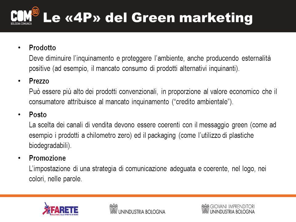 Le «4P» del Green marketing Prodotto Deve diminuire linquinamento e proteggere lambiente, anche producendo esternalità positive (ad esempio, il mancato consumo di prodotti alternativi inquinanti).