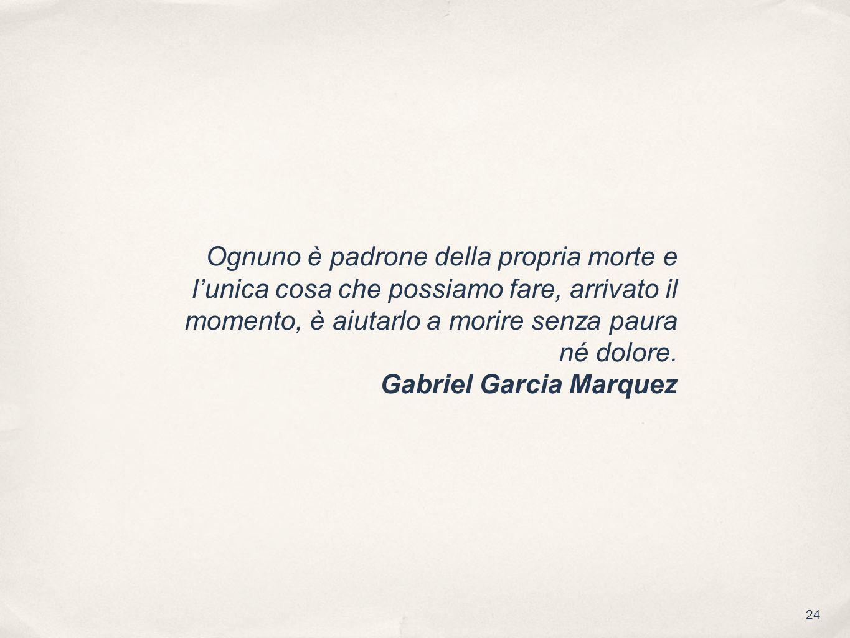 24 Ognuno è padrone della propria morte e lunica cosa che possiamo fare, arrivato il momento, è aiutarlo a morire senza paura né dolore. Gabriel Garci