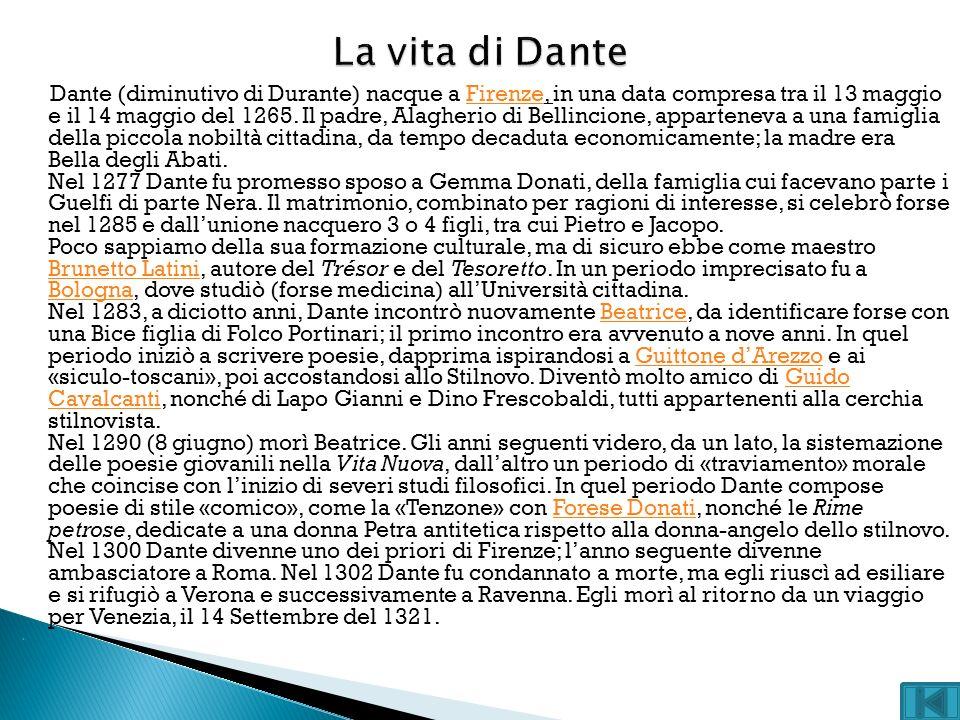 Dante (diminutivo di Durante) nacque a Firenze, in una data compresa tra il 13 maggio e il 14 maggio del 1265. Il padre, Alagherio di Bellincione, app