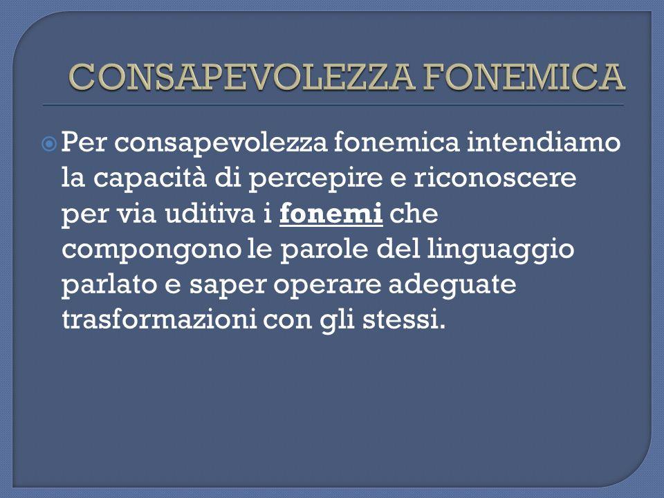 Per consapevolezza fonemica intendiamo la capacità di percepire e riconoscere per via uditiva i fonemi che compongono le parole del linguaggio parlato