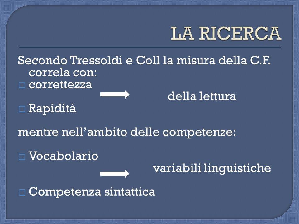 Secondo Tressoldi e Coll la misura della C.F. correla con: correttezza della lettura Rapidità mentre nellambito delle competenze: Vocabolario variabil