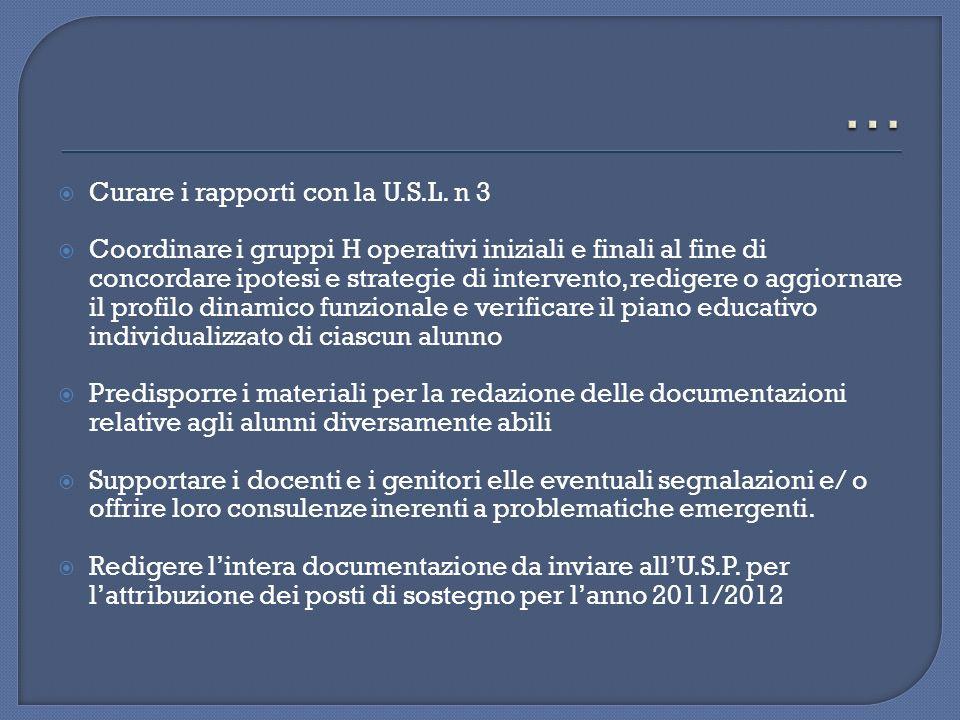 Curare i rapporti con la U.S.L. n 3 Coordinare i gruppi H operativi iniziali e finali al fine di concordare ipotesi e strategie di intervento, rediger