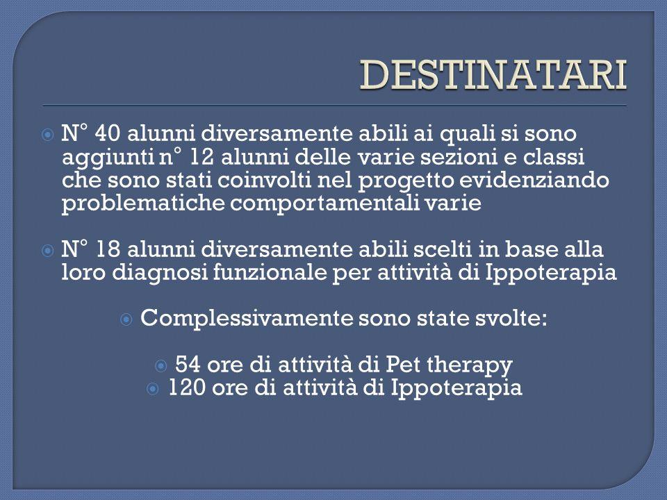N° 40 alunni diversamente abili ai quali si sono aggiunti n° 12 alunni delle varie sezioni e classi che sono stati coinvolti nel progetto evidenziando