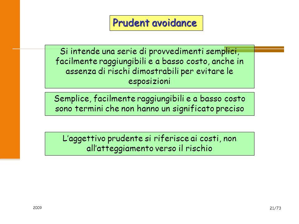 2009 20/73 Principio di precauzione Politica di gestione del rischio che viene applicata in circostanze caratterizzate da un alto grado di incertezza