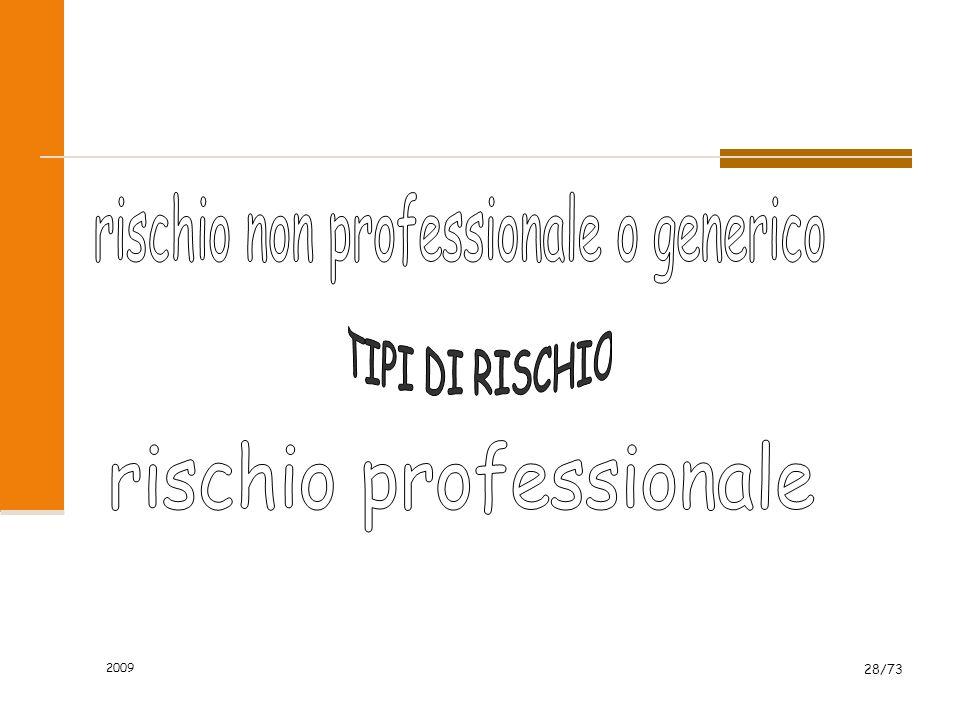 2009 27/73 RISCHIO = PERICOLO + ESPOSTI