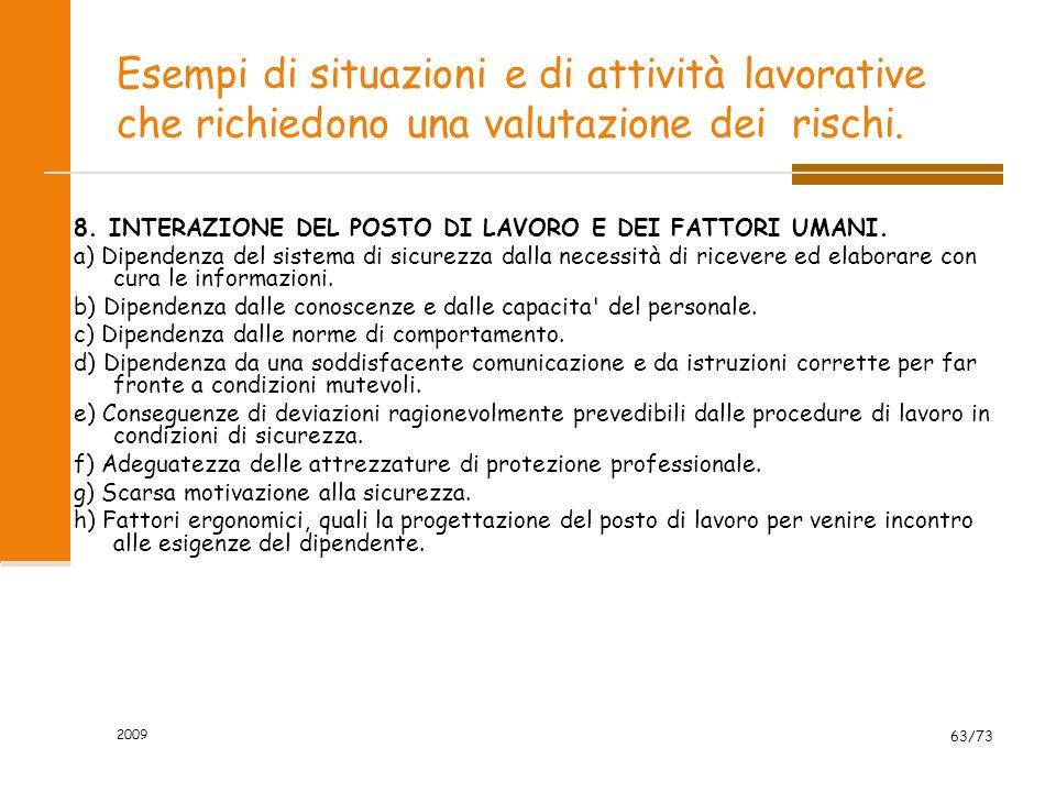 2009 62/73 Esempi di situazioni e di attività lavorative che richiedono una valutazione dei rischi. 7. FATTORI AMBIENTALI E AMBIENTE DI LAVORO. a) Ill