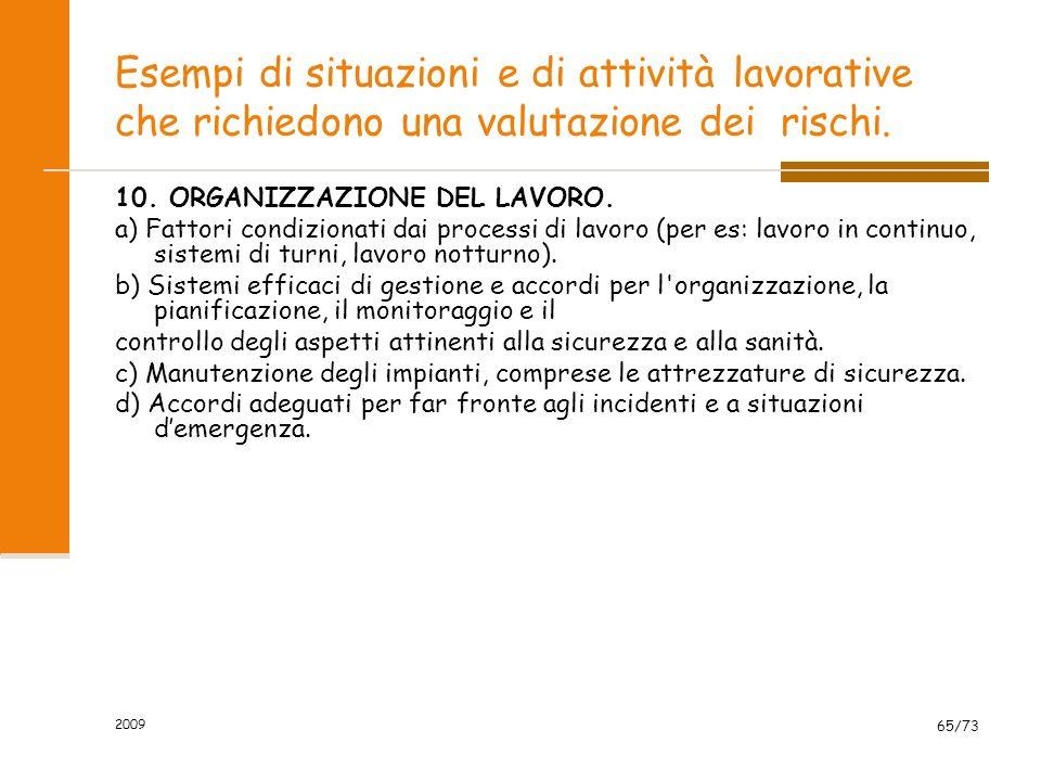 2009 64/73 Esempi di situazioni e di attività lavorative che richiedono una valutazione dei rischi. 9. FATTORI PSICOLOGICI. a) Difficoltà di lavoro (i