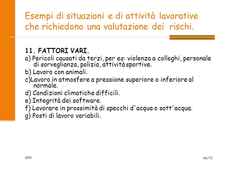 2009 65/73 Esempi di situazioni e di attività lavorative che richiedono una valutazione dei rischi. 10. ORGANIZZAZIONE DEL LAVORO. a) Fattori condizio