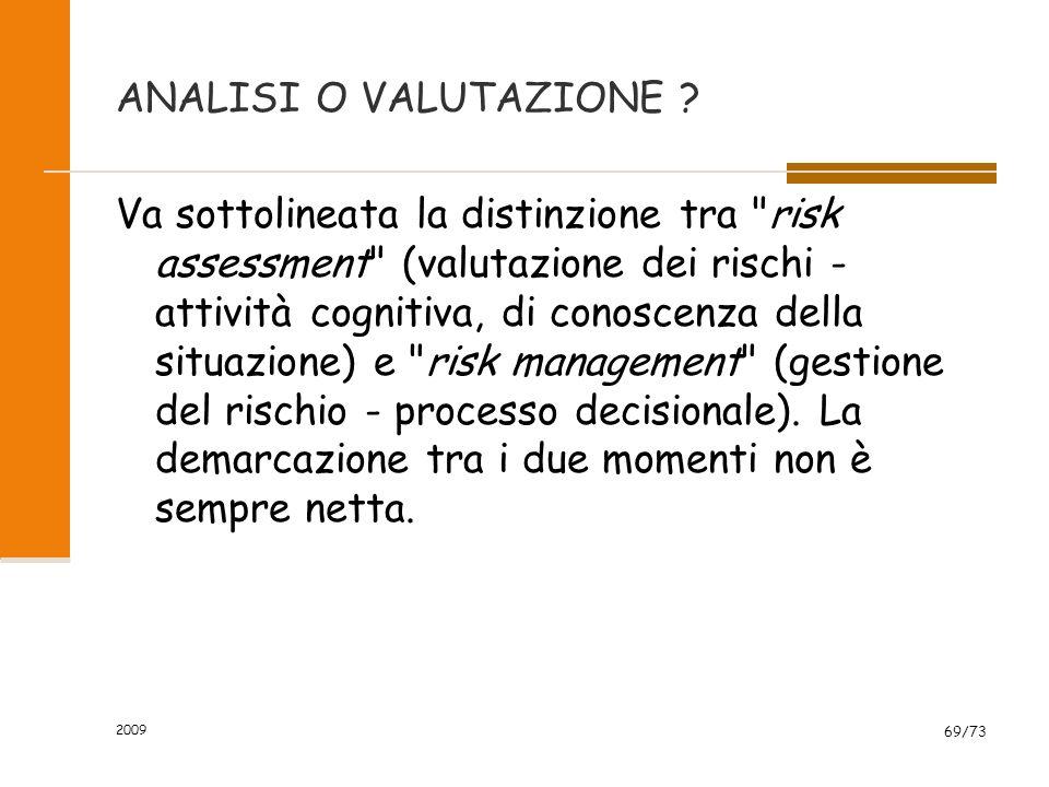 2009 68/73 VALUTAZIONE DEL RISCHIO IDENTIFICAZIONE DEL RISCHIO IDENTIFICAZIONE DEL RISCHIO STIMA DEL RISCHIO (quantificazione) STIMA DEL RISCHIO (quan