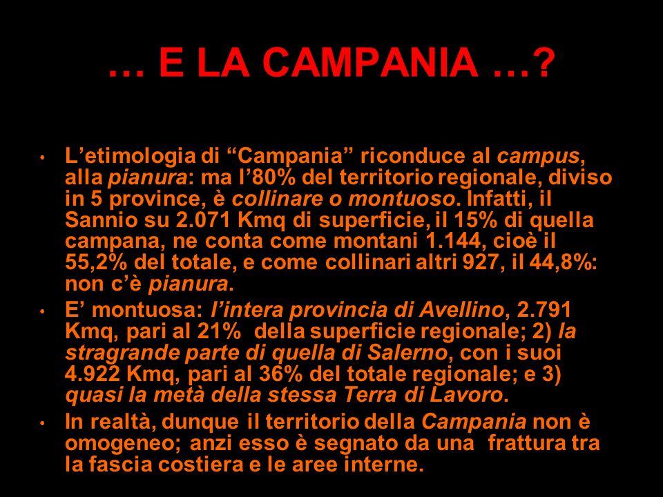 … E LA CAMPANIA …? -13.590 km2 e 5.825.569 abitanti: la più alta densità italiana su Km2: (428,60 abitanti)