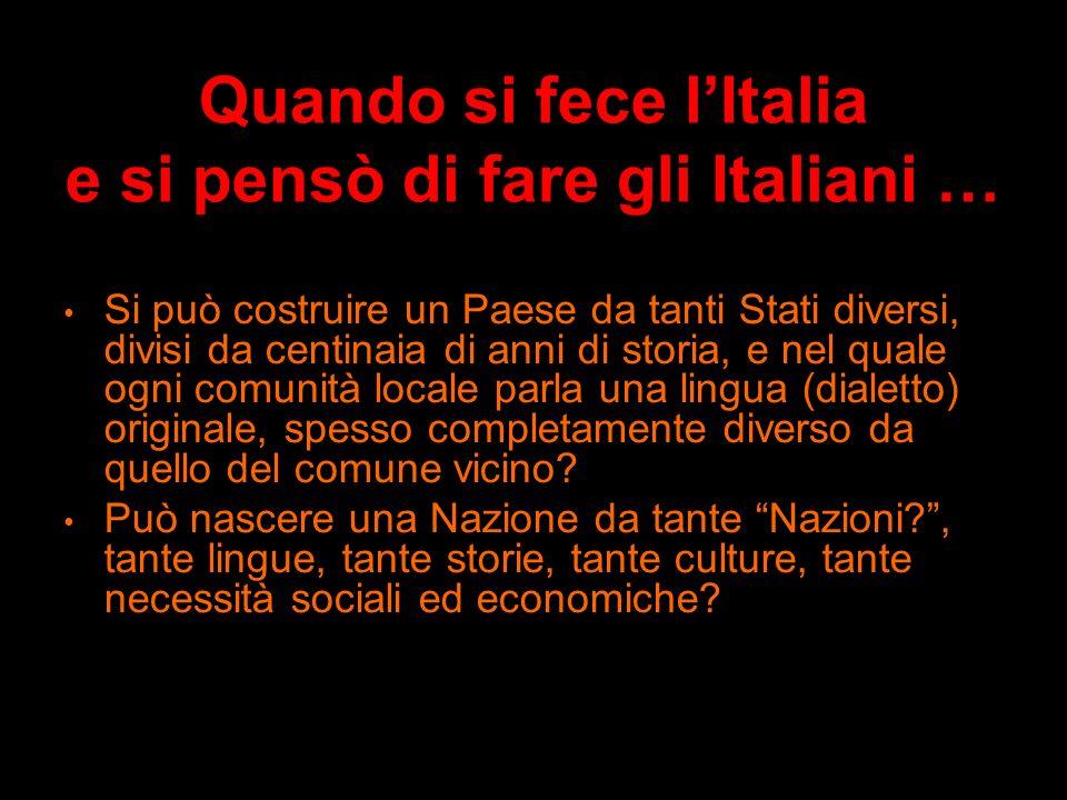 Quando si fece lItalia e si pensò di fare gli Italiani … - Cè una bandiera di tre colori, tra tutte la più bella … - Fratelli dItalia, litalia sè dest