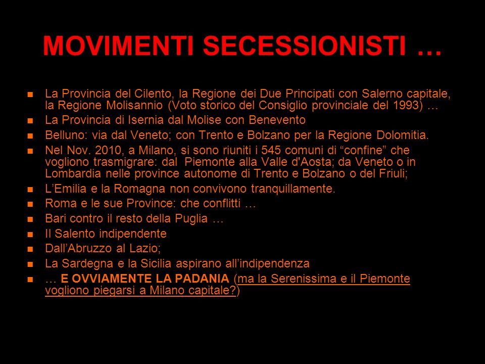 LE MACROREGIONI Lo studio della Fondazione Agnelli del 1992 sulla costituzione delle macroregioni al posto delle attuali Regioni: la proposta pur se a
