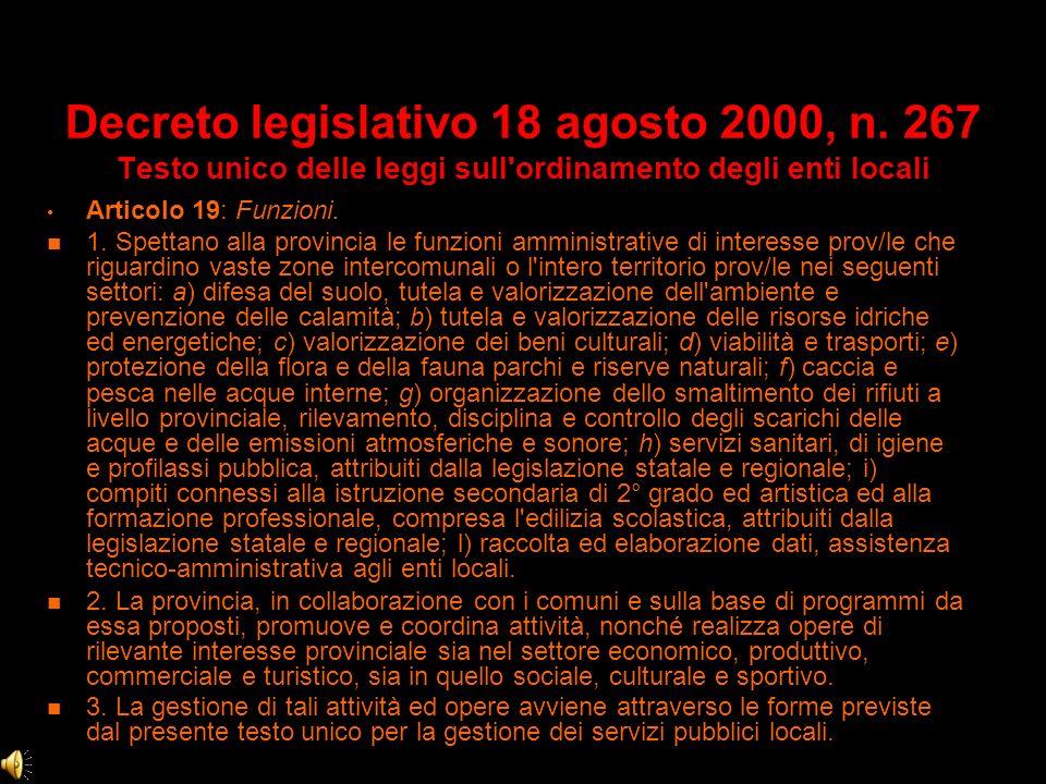 Decreto legislativo 18 agosto 2000, n. 267 Testo unico delle leggi sull'ordinamento degli enti locali Articolo 3: Autonomia dei comuni e delle provinc