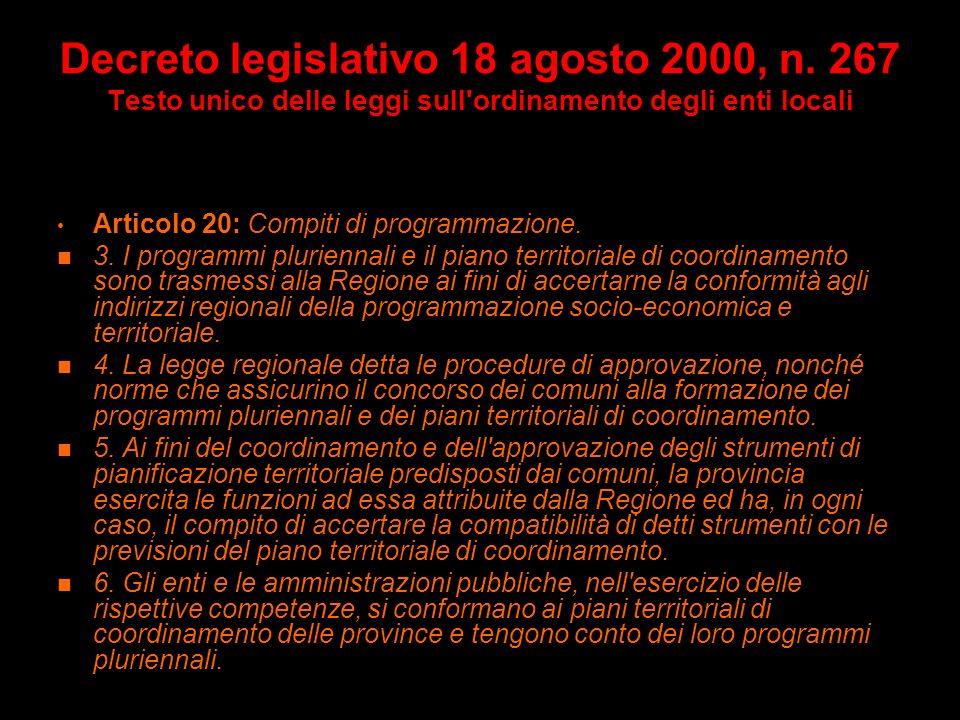 Decreto legislativo 18 agosto 2000, n. 267 Testo unico delle leggi sull'ordinamento degli enti locali Articolo 20: Compiti di programmazione. 2. La pr