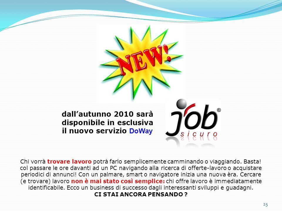 25 dallautunno 2010 sarà disponibile in esclusiva il nuovo servizio DoWay Chi vorrà trovare lavoro potrà farlo semplicemente camminando o viaggiando.