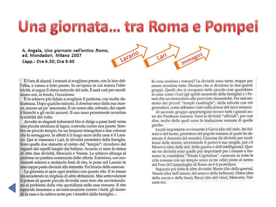 A. Angela, Una giornata nellantica Roma, ed. Mondadori, Milano 2007 Capp.: Ore 6.30; Ore 9.40 Larario Lari Immagini