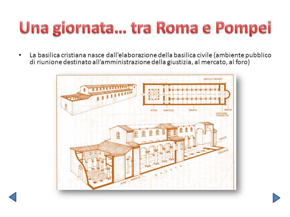 La basilica cristiana nasce dallelaborazione della basilica civile (ambiente pubblico di riunione destinato allamministrazione della giustizia, al mer