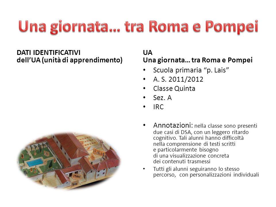 DATI IDENTIFICATIVI dellUA (unità di apprendimento) UA Una giornata… tra Roma e Pompei Scuola primaria p. Lais A. S. 2011/2012 Classe Quinta Sez. A IR