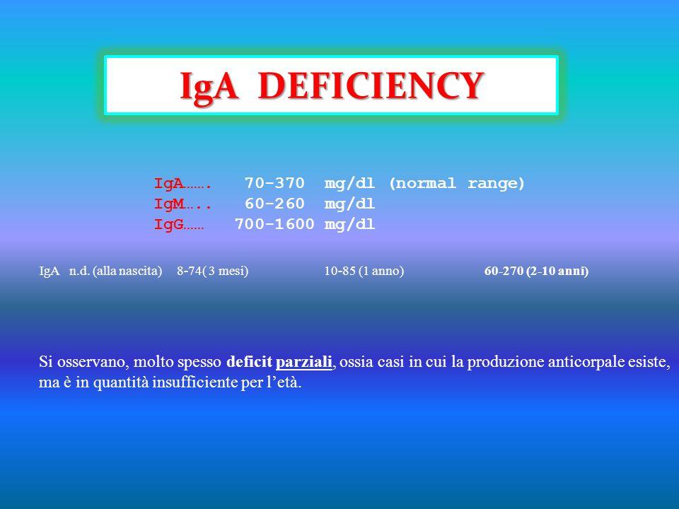 IgA……. 70-370 mg/dl (normal range) IgM….. 60-260 mg/dl IgG…… 700-1600 mg/dl Si osservano, molto spesso deficit parziali, ossia casi in cui la produzio