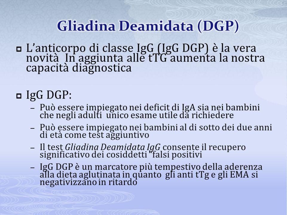 Lanticorpo di classe IgG (IgG DGP) è la vera novità In aggiunta alle tTG aumenta la nostra capacità diagnostica IgG DGP: – Può essere impiegato nei de