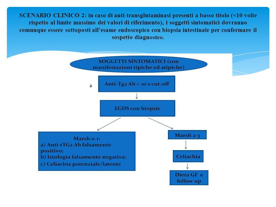 SCENARIO CLINICO 2: in caso di anti-transglutaminasi presenti a basso titolo (<10 volte rispetto al limite massimo dei valori di riferimento), i sogge