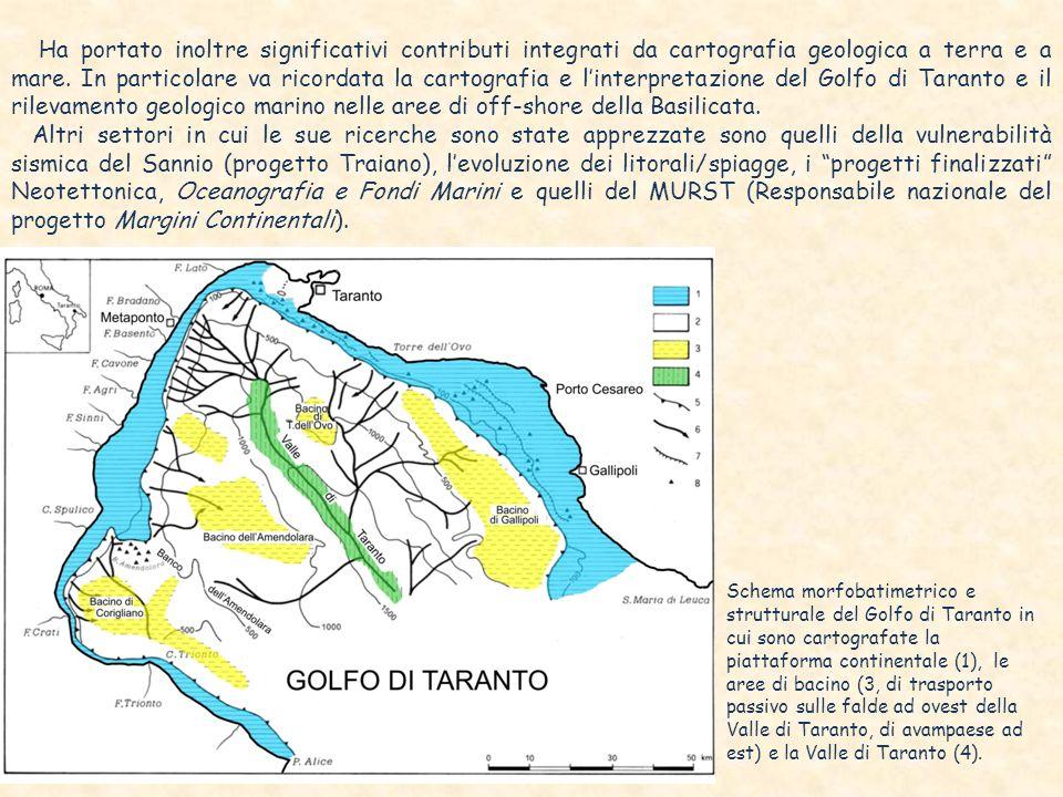 Schema morfobatimetrico e strutturale del Golfo di Taranto in cui sono cartografate la piattaforma continentale (1), le aree di bacino (3, di trasporto passivo sulle falde ad ovest della Valle di Taranto, di avampaese ad est) e la Valle di Taranto (4).