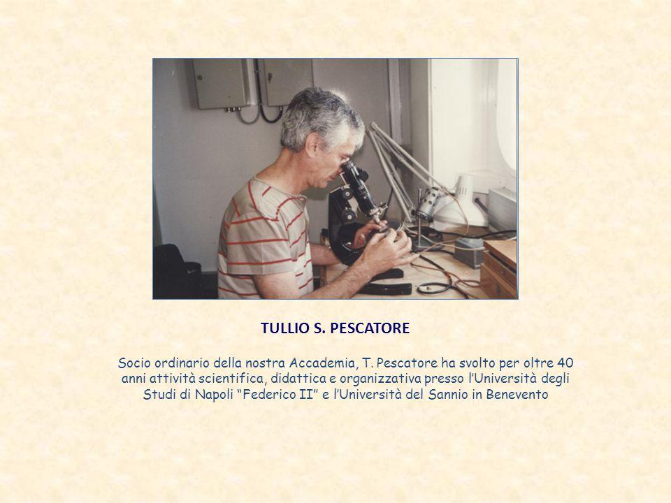 TULLIO S. PESCATORE Socio ordinario della nostra Accademia, T. Pescatore ha svolto per oltre 40 anni attività scientifica, didattica e organizzativa p