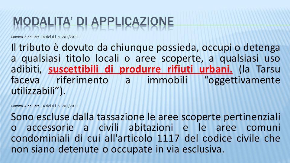 Comma 3 dellart. 14 del d.l. n. 201/2011 Il tributo è dovuto da chiunque possieda, occupi o detenga a qualsiasi titolo locali o aree scoperte, a quals