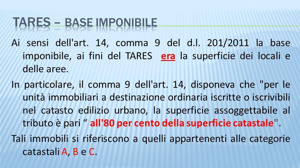Ai sensi dell'art. 14, comma 9 del d.l. 201/2011 la base imponibile, ai fini del TARES era la superficie dei locali e delle aree. In particolare, il c
