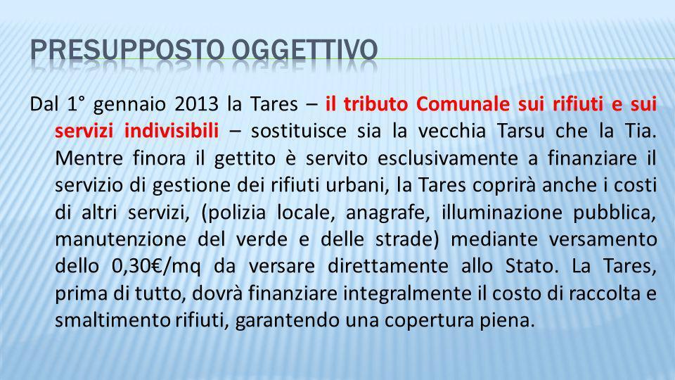Dal 1° gennaio 2013 la Tares – il tributo Comunale sui rifiuti e sui servizi indivisibili – sostituisce sia la vecchia Tarsu che la Tia. Mentre finora