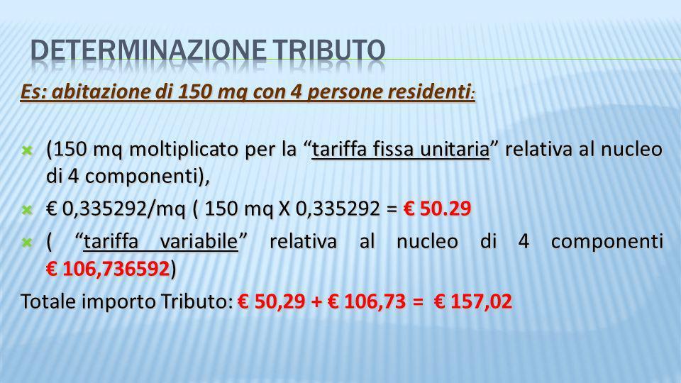 Es: abitazione di 150 mq con 4 persone residenti : (150 mq moltiplicato per la tariffa fissa unitaria relativa al nucleo di 4 componenti), (150 mq mol