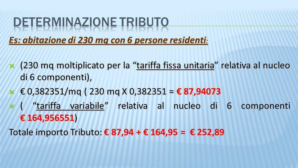 Es: abitazione di 230 mq con 6 persone residenti : (230 mq moltiplicato per la tariffa fissa unitaria relativa al nucleo di 6 componenti), (230 mq mol