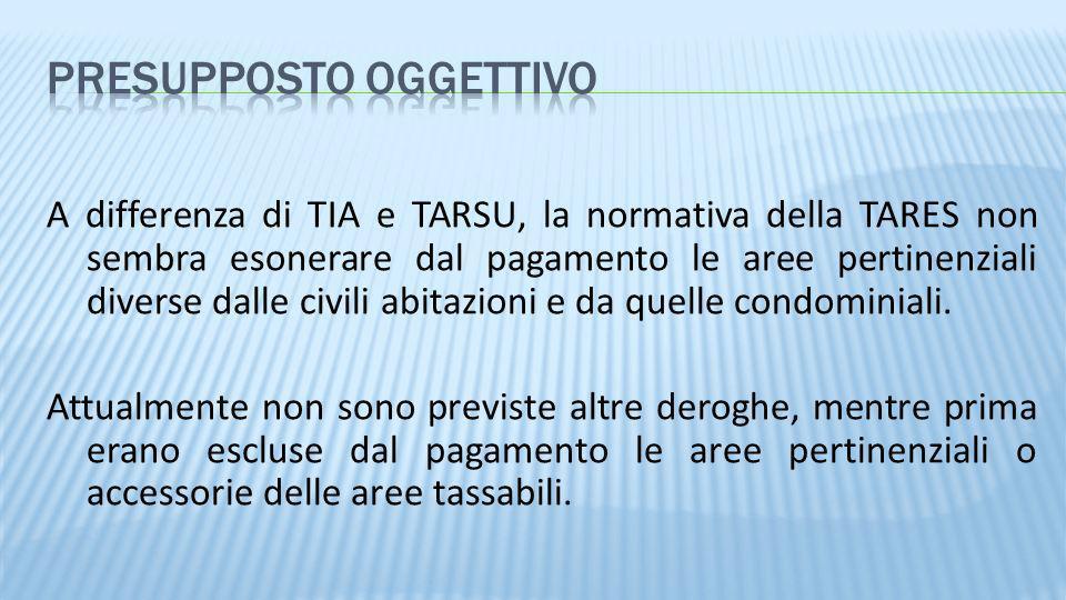 A differenza di TIA e TARSU, la normativa della TARES non sembra esonerare dal pagamento le aree pertinenziali diverse dalle civili abitazioni e da qu